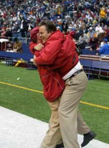 49er Coaches Steve Mariucci and Jim Mora celebrate last second win over the Cowboys, Texas Stadium, December, 2008