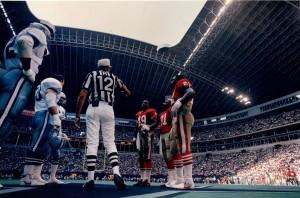 Pre-game Coin Flip, Texas Stadium, 49ers vs Cowboys, October 15, 1989