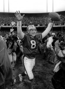 Steve Young celebrates win over Cowboys in the 1994 NFC Championship Game, January 15, 1995, Candlestick Park
