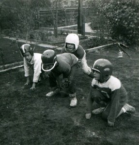 1957 Backyard Football The author in white helmet