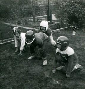 1957 Backyard Football The author in white helmet