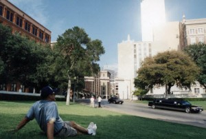 On the grassy knoll in Dealy Plaza  Dallas, TX at the site of the JFK assassination in 2000