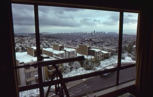 The snowscape view from my apartment in Diamond Heights, February 4, 1976. The last time it snowed in San Francisco