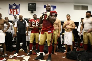 BY smiles in the locker room following his final game at Candlestick Park, December 23, 2007