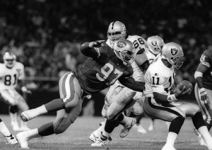 BY's First NFL game and sack. Los Angeles Raiders, Candlestick Park, September 5, 1994
